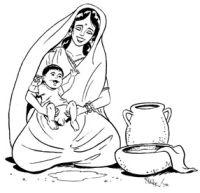 Eine Indierin hält ihr Baby zum Pinkeln ab